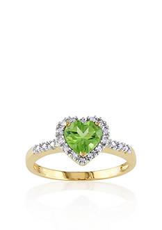 Belk & Co. 10k Yellow Gold Peridot and Diamond Heart Ring