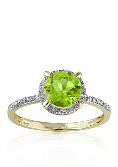 Belk co 10k yellow gold peridot and diamond ring belk for Belk fine jewelry rings