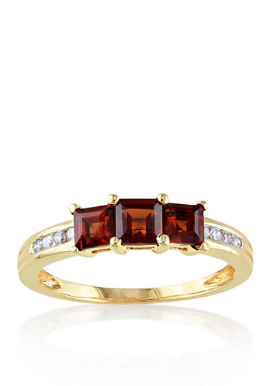 Belk & Co. 10k Yellow Gold Garnet and Diamond Ring