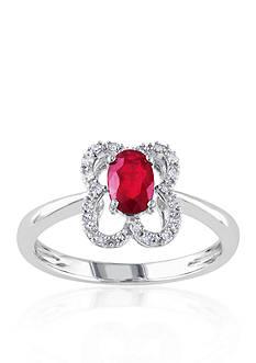 Belk & Co. 10k White Gold Ruby and Diamond Ring