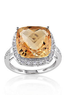Belk & Co. 14k White Gold Citrine and Diamond Ring