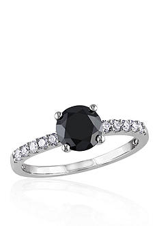Belk & Co. 1.25 ct. t.w. Black and White Diamond Engagement Ring in 14k White Gold