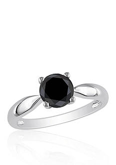 Belk & Co. Black Diamond Solitaire Engagement Ring in 10k White Gold