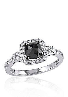 Belk & Co. 1 ct. t.w. Black and White Diamond Engagement Ring in 14k White Gold