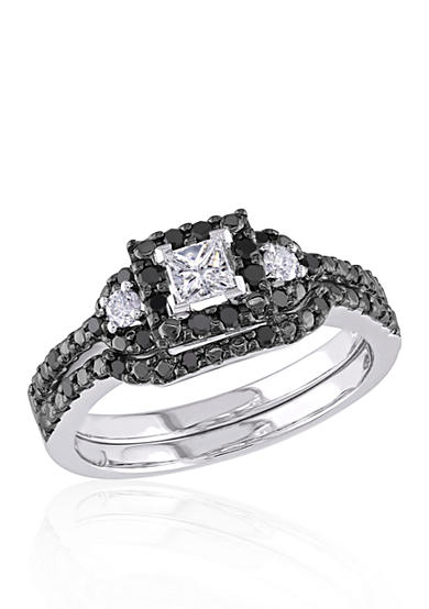 Belk & Co. 1/2 ct. t.w. Black and White Diamond Bridal Ring Set in 10k White Gold