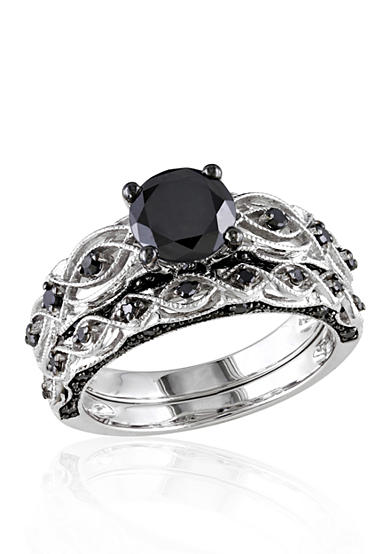 Belk & Co. 1.38 ct. t.w. Black Diamond Bridal Ring Set in 10k White Gold