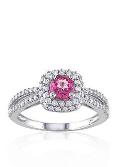 Belk & Co. 14k White Gold Pink Sapphire and Diamond Ring