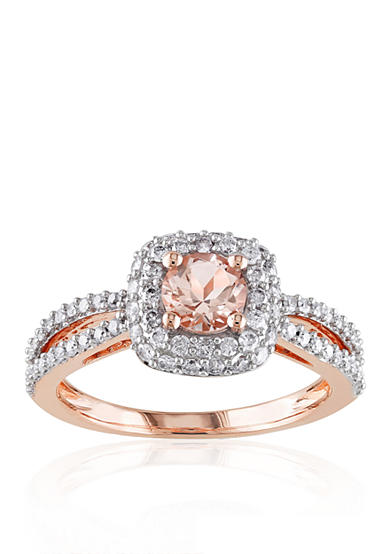 Belk & Co. 14k Rose Gold Morganite and Diamond Ring