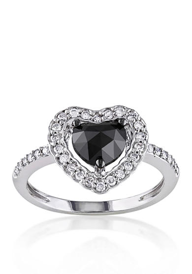 Belk & Co. Black and White Diamond Heart Ring in 14k White Gold