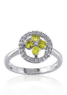 Belk & Co. Yellow and White Diamond Flower Ring in 14k White Gold