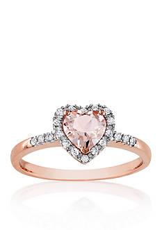 Belk & Co. 10k Rose Gold Morganite and Diamond Heart Ring