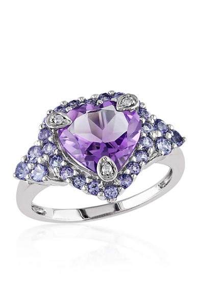 Belk & Co. Tanzanite, Amethyst and Diamond Heart Ring in 10k White Gold
