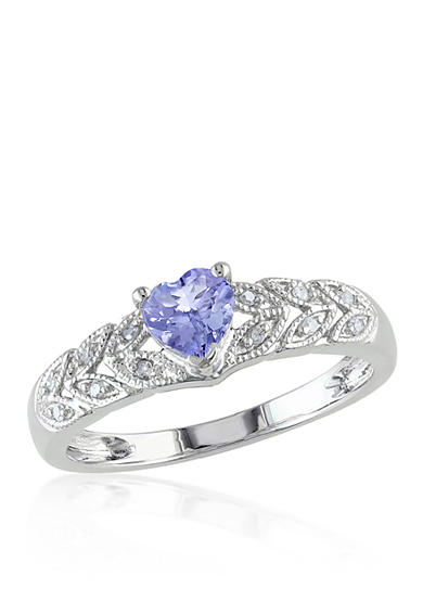 Belk & Co. Tanzanite and Diamond Heart Ring in 10k White Gold