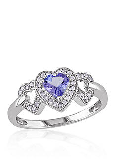 Belk & Co. Tanzanite and Diamond Heart Ring in 10k White Gold