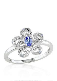 Belk & Co. Tanzanite and Diamond Flower Ring in 10k White Gold
