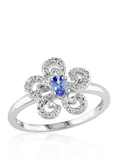 Belk & Co. Tanzanite and Diamond Flower Ring in 10k White Gold