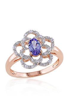 Belk & Co. Tanzanite and Diamond Flower Ring in 14k Rose Gold