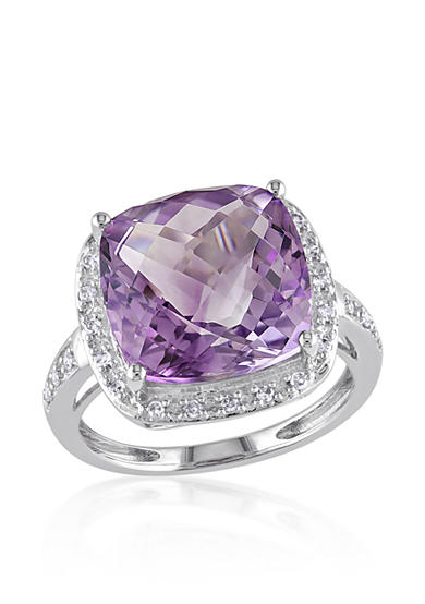 Belk co 14k white gold amethyst and diamond ring belk for Belk fine jewelry rings