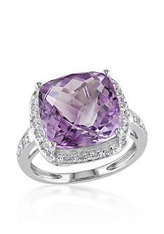 Belk & Co. 14k White Gold Amethyst and Diamond Ring