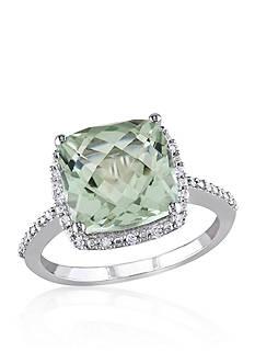 Belk & Co. 10k White Gold Green Amethyst and Diamond Ring