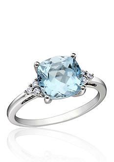 Belk & Co. 10k White Gold Blue Topaz and Diamond Ring