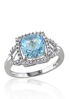 Belk & Co. 10k White Gold Blue Topaz and Diamond Ring