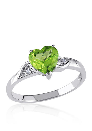 Belk & Co. 10k White Gold Peridot and Diamond Heart Ring