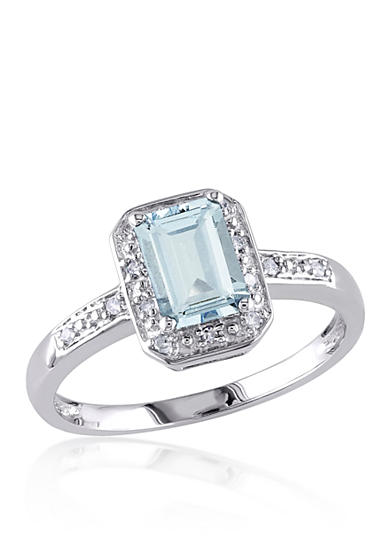Belk co 10k white gold aquamarine and diamond ring belk for Belk fine jewelry rings