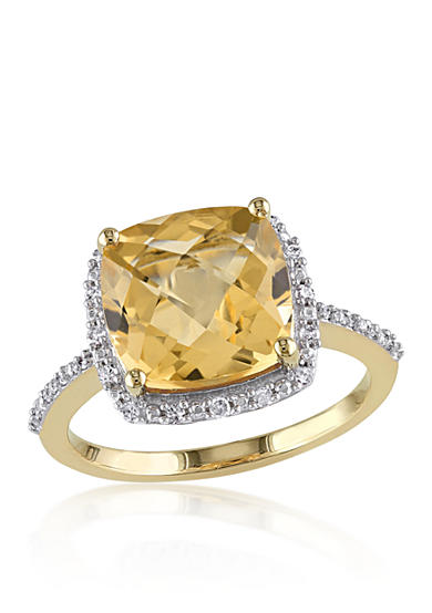 Belk co 10k yellow gold citrine and diamond ring belk for Belk fine jewelry rings