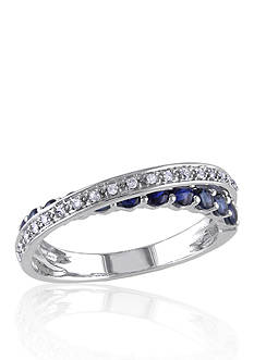 Belk & Co. 10k White Gold Sapphire and Diamond Crossover Ring