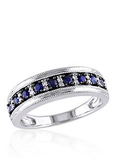 Belk & Co. 10k White Gold Sapphire and Diamond Band