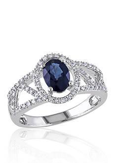 Belk & Co. 10k White Gold Sapphire and Diamond Ring