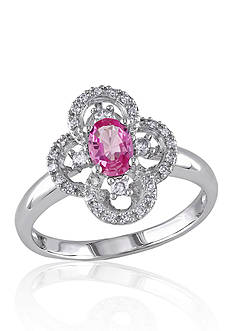 Belk & Co. 10k White Gold Pink Sapphire and Diamond Flower Ring