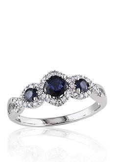 Belk & Co. 10k White Gold 3 Stone Sapphire and Diamond Ring
