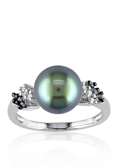 Belk & Co. 10k White Gold Black Tahitian Pearl and Black and White Diamond Ring