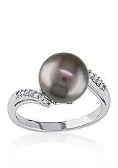 Belk & Co. 10k White Gold Black Tahitian Pearl and Diamond Ring