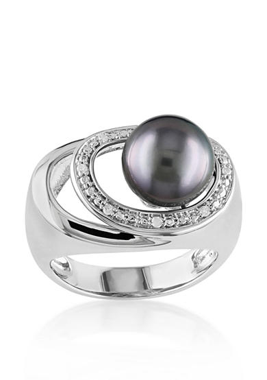 Belk co sterling silver black tahitian pearl and for Belk fine jewelry rings
