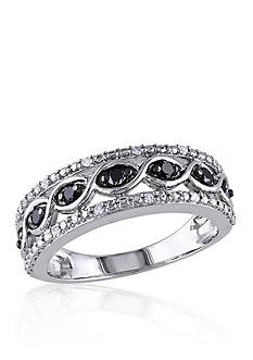 Belk & Co. Black and White Diamond Band in Sterling Silver