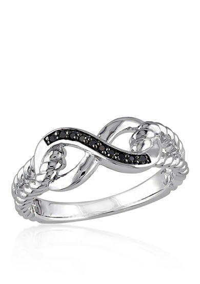 Belk & Co. Black Diamond Infinity Ring in Sterling Silver