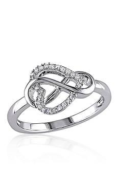 Belk & Co. Diamond Heart Infinity Ring in Sterling Silver