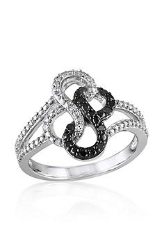 Belk & Co. Black and White Diamond Double Infinity Ring in Sterling Silver