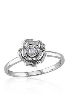Belk & Co. Diamond Flower Ring in Sterling Silver