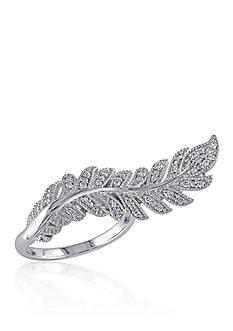 Belk & Co. Diamond Leaf Ring in Sterling Silver
