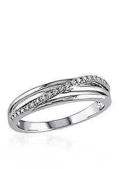 Belk & Co. Diamond Crossover Ring in Sterling Silver
