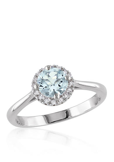Belk co sterling silver aquamarine and diamond ring belk for Belk fine jewelry rings