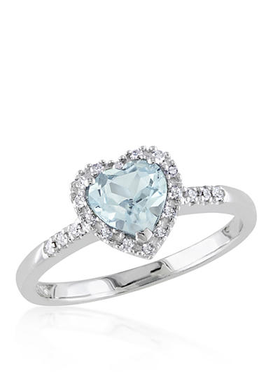 Belk co sterling silver aquamarine and diamond heart for Belk fine jewelry rings