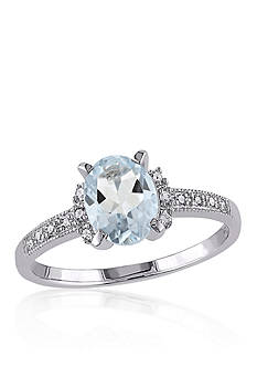 Belk & Co. Sterling Silver Aquamarine and Diamond Ring