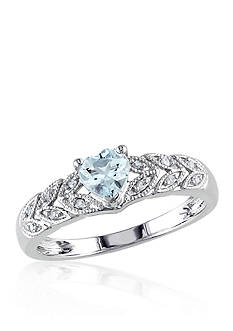 Belk & Co. Sterling Silver Aquamarine and Diamond Heart Ring