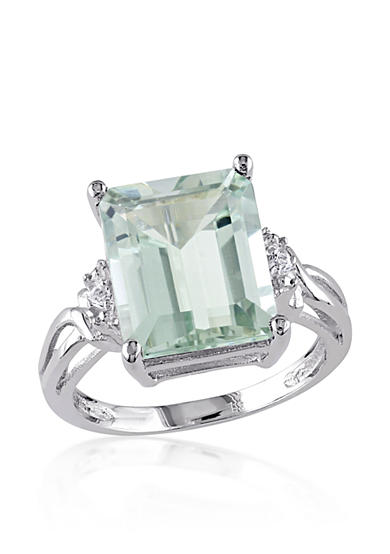 Belk & Co. Green Amethyst and White Topaz Ring in Sterling Silver