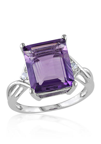 Belk & Co. Amethyst and White Topaz Ring in Sterling Silver